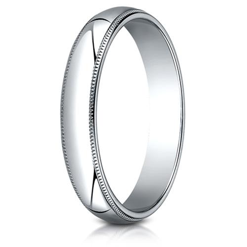 Platinum 4mm Milgrain Wedding Band