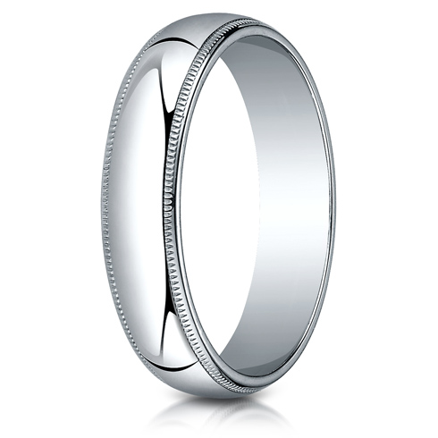 10kt White Gold 5mm Milgrain Comfort Fit Wedding Band
