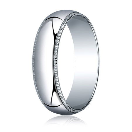 14kt White Gold 6mm Milgrain Wedding Band