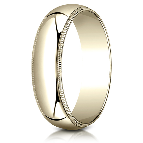 14kt Yellow Gold 6mm Milgrain Wedding Band