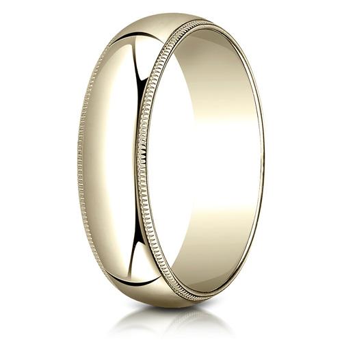 10kt Yellow Gold 6mm Milgrain Comfort Fit Wedding Band