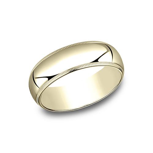 10kt Yellow Gold 7mm Milgrain Comfort Fit Wedding Band