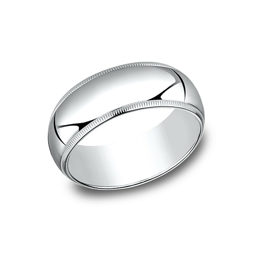 14kt White Gold 8mm Milgrain Wedding Band