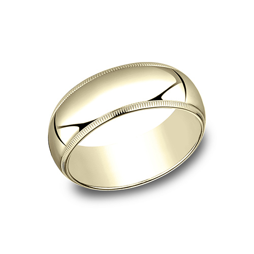 14kt Yellow Gold 8mm Milgrain Wedding Band