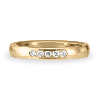 1/10 CT Diamond Band 3mm - 14k Yellow Gold