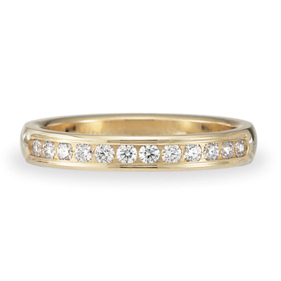 1/4 CT Diamond Band 3mm - 14k Yellow Gold
