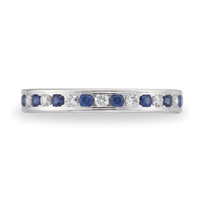 Benchmark 14kt White Gold 3/4 CT Sapphire & Diamond Band