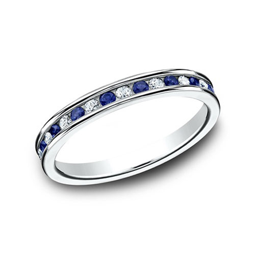 3/4 ct Sapphire and Diamond Eternity Wedding Band 14k White Gold