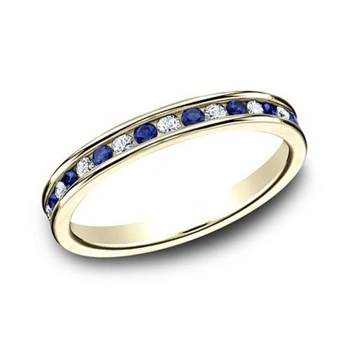 14k Yellow Gold 3/4 ct Sapphire and Diamond Eternity Wedding Band