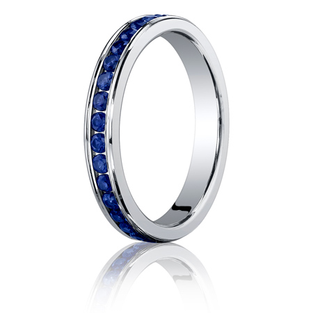 14kt White Gold Benchmark 5/8 CT Sapphire Band 3mm