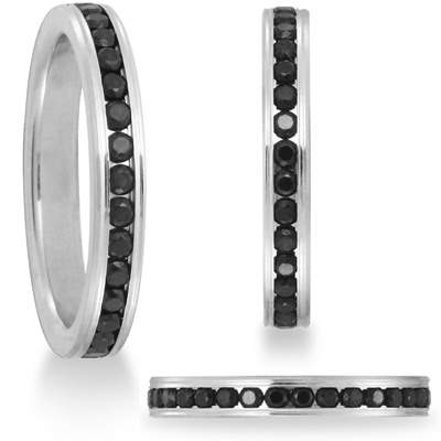 2/3 CT Black Diamond Platinum Band 3mm