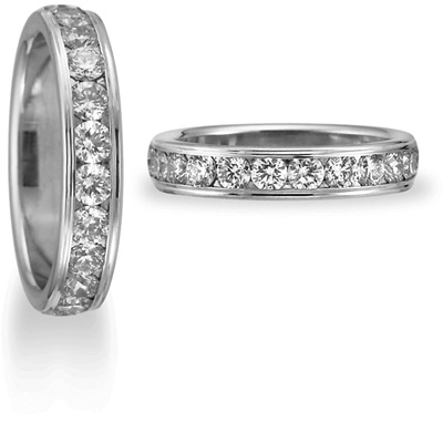 1 CT Diamond Band 4mm - 14k White Gold