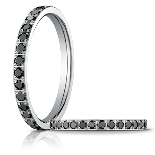 14kt White Gold 2/3 ct tw Black Diamond Eternity Wedding Band