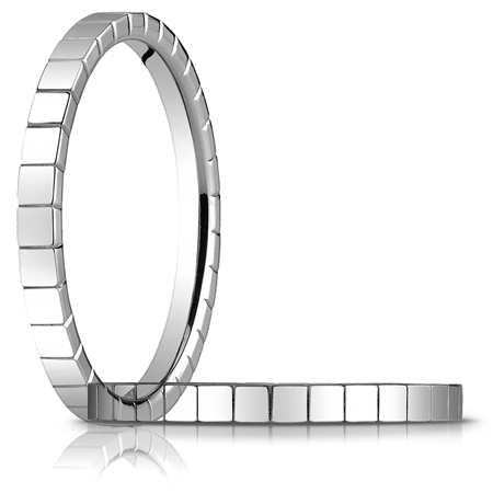 14kt White Gold 2mm Wedding Band with Squares