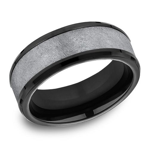 Benchmark Tantalum Black Anium 8mm Wedding Band With Swirl Finish