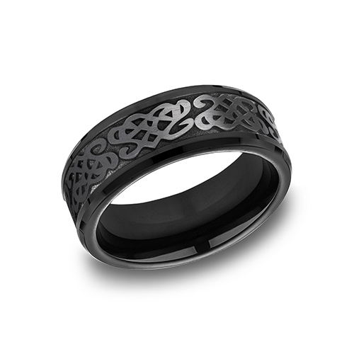 Black Titanium 8mm Wedding Band with Celtic Script Texture