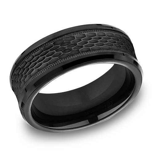Black Titanium 8mm Mesh Texture Ring with Milgrain