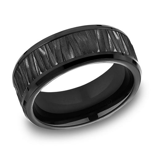 Black Titanium 8mm Bark Texture Ring
