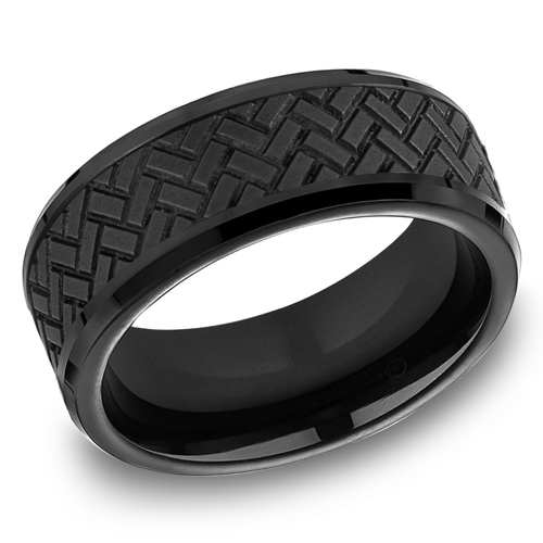 Black Titanium 8mm Wedding Band with Cross Hatch Texture