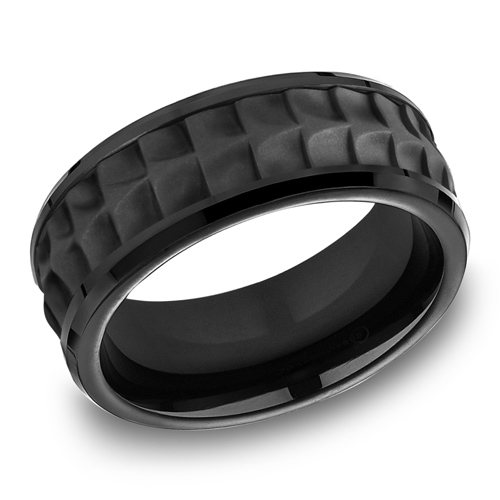 Black Titanium 8mm Crocodile Texture Ring