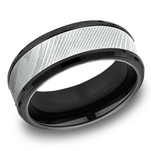 Black Titanium 8mm Wedding Band with Damascus Steel Inlay