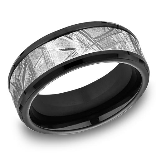 Black Titanium 8mm Wedding Band with Meteorite Inlay