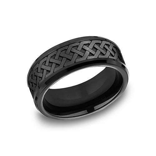 Black Titanium 9mm Wedding Band with Celtic Love Knot Design