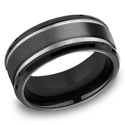 Black Titanium 9mm Satin Wedding Band with Gray Grooves