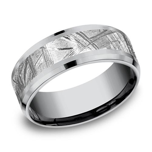 Benchmark Tantalum 8mm Meteorite Wedding Band With Beveled Edges