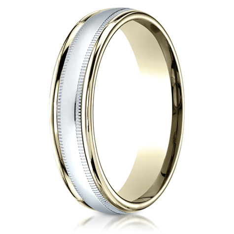 14kt Two Tone Gold 4mm Wedding Band with Inner Milgrain