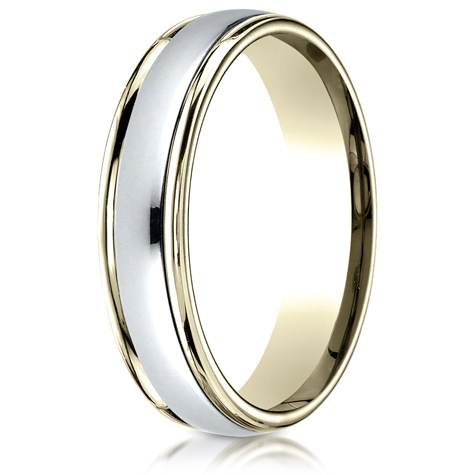 18kt Gold and Platinum 4mm Polished Wedding Band
