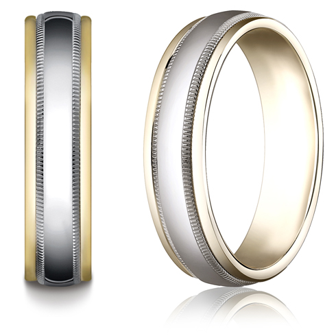 18kt Gold and Platinum 6mm Wedding Band with Milgrain