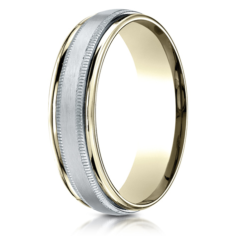 6mm 14kt Two Tone Gold Milgrain Band with Spin Satin Finish