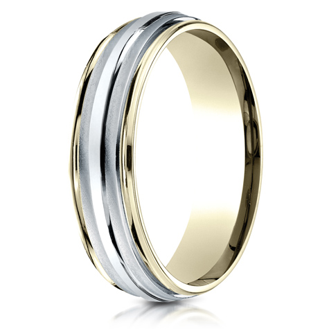 14kt Two Tone Gold 6mm Carved Wedding Band