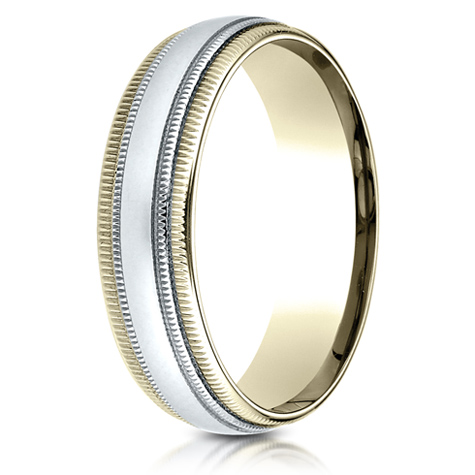 14kt Two Tone Gold 6mm Carved Band with Double Milgrain