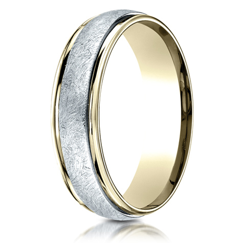18kt Gold and Platinum 6mm Wedding Band with Spin Satin Finish