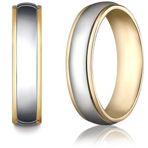 6mm 14kt Two Tone Gold Wedding Band with Domed Center