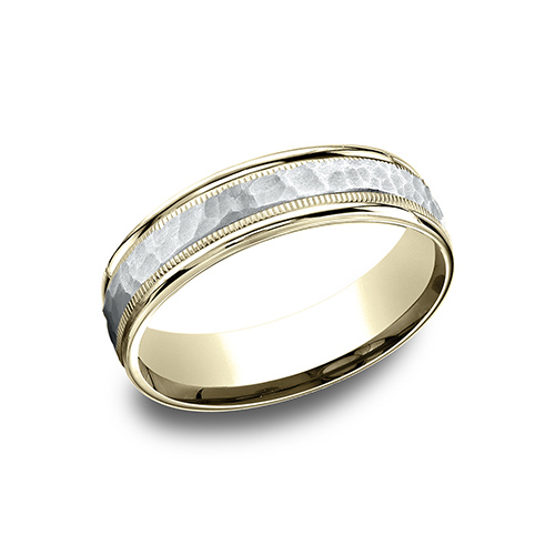 14kt Two Tone Gold 6mm Hammered Wedding Band with Milgrain
