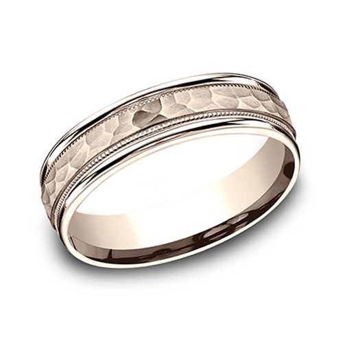 14k Rose Gold 6mm Hammered Wedding Band with Milgrain
