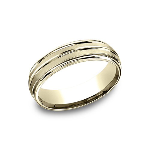 14kt Yellow Gold 6mm Satin Ridged Wedding Band