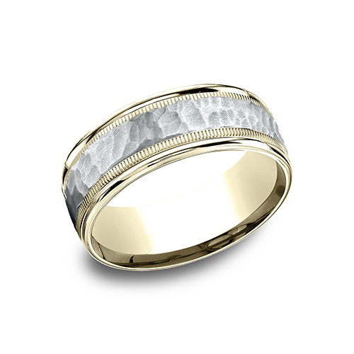 14kt Two Tone Gold 8mm Hammered Band with Milgrain