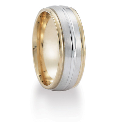 8mm Ridged Band - 14k Two Tone Gold