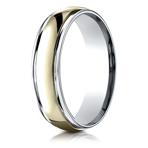 14kt Two Tone Gold 6mm Wedding Band with Ridged Edges