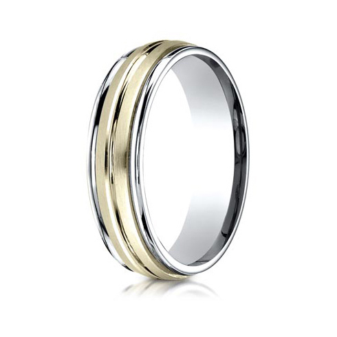 18kt Gold and Platinum 6mm Wedding Band with Ridges
