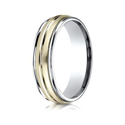 14kt Two-tone Gold 6mm Satin Ridged Wedding Band