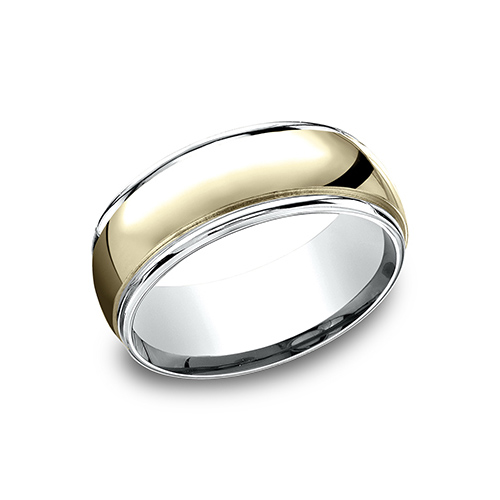 14k Two Tone Gold 8mm Wedding Band with Ridged Edges