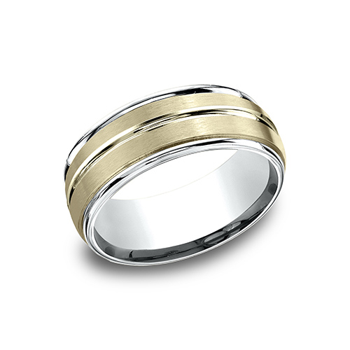 14kt Two Tone Gold 8mm Ridged Wedding Band