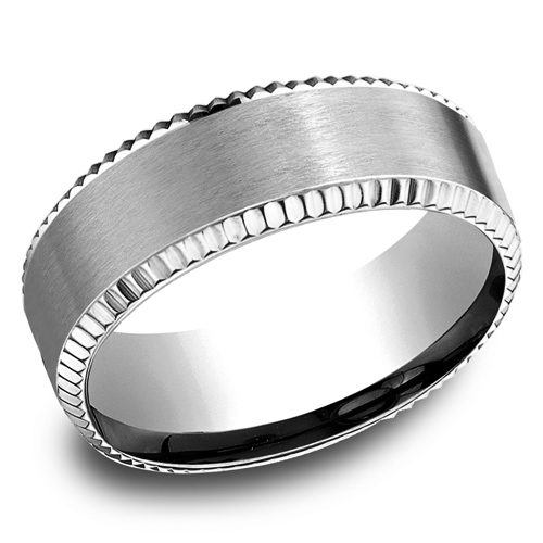 14kt White Gold 8mm Satin Wedding Band with Coin Edges