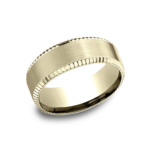 14kt Yellow Gold 8mm Satin Wedding Band with Coin Edges