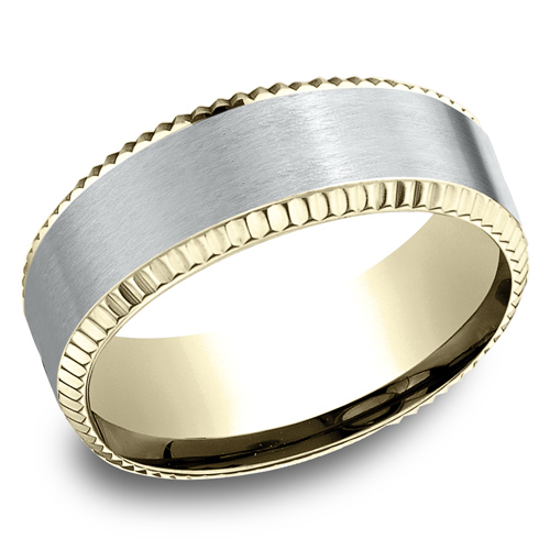 14kt White and Yellow Gold 8mm Satin Wedding Band with Coin Edges